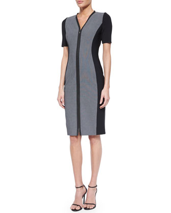 Mila Short-Sleeve Zip-Front Sheath Dress