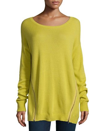 Suzie Cashmere Side-Zip Boat-Neck Sweater