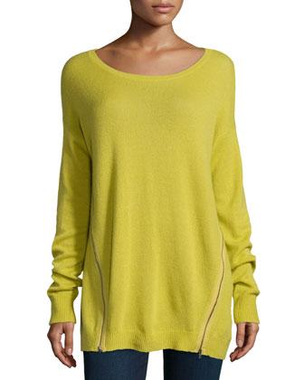 Suzie Cashmere Side-Zip Boat-Neck Sweater