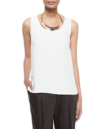 Cleo Sleeveless Silk Blouse, Cloud