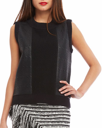 Sleeveless Embossed Cable-Link Tank, Black