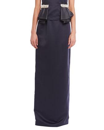 Sloane Embellished-Waist Peplum Top & Satin Evening Maxi Skirt, Midnight Blue