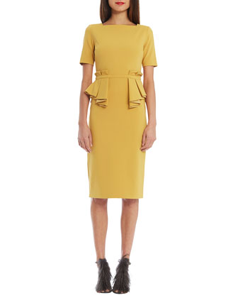 Sloane Short-Sleeve Peplum Cocktail Dress