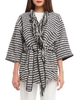 Elbow-Sleeve Stripe Kimono Wrap Sweater, Jewel-Neck Sleeveless Knit Tank & ...