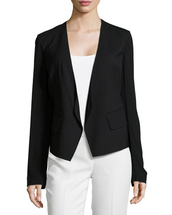 Long-Sleeve Open-Front Jacket, Black
