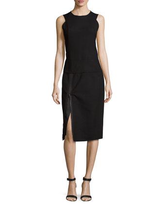 Sleeveless Jewel-Neck Dress W/Zip Detail, Black