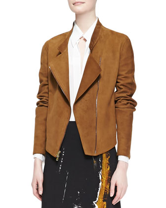 Asymmetric Zip Suede Jacket, Brandy