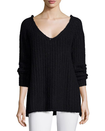 Long-Sleeve Ribbed Sweater, Black