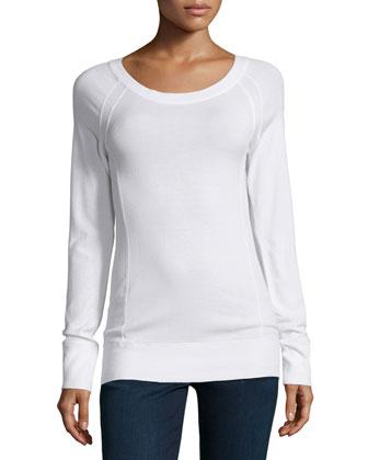 Raglan-Sleeve Round-Neck Top, Ivory
