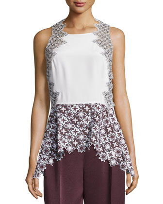 Patchwork Lace Peplum Tank, Antique White