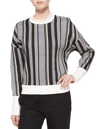 Striped Drop-Shoulder Sweatshirt