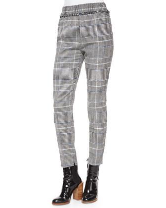 Sleeveless Wrap-Front Fringe Top & Herringbone-Print Fringe Pants