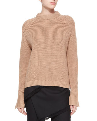 Wool Crewneck Knit Sweater & Fringe Wrap-Skirted Pants