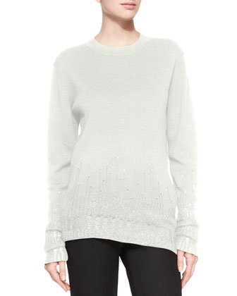 Crewneck Wool Sweater W/ Mohair Trim