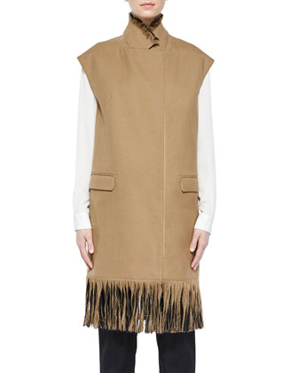 Classic Silk Shirt, Long Wool Vest with Fringe & Wool Pencil Trousers ...