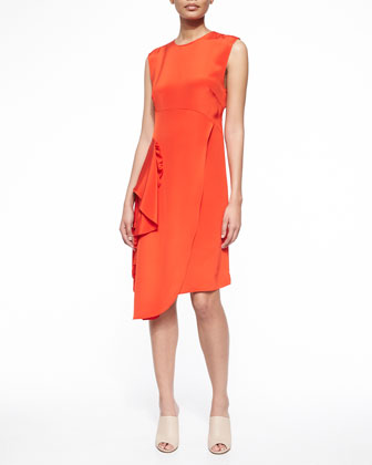 Sleeveless Silk Ruffle-Drape Dress