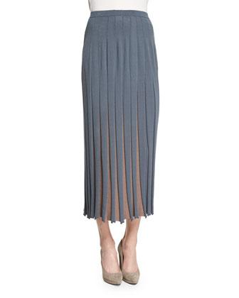 Bicolor Pleated Midi Skirt