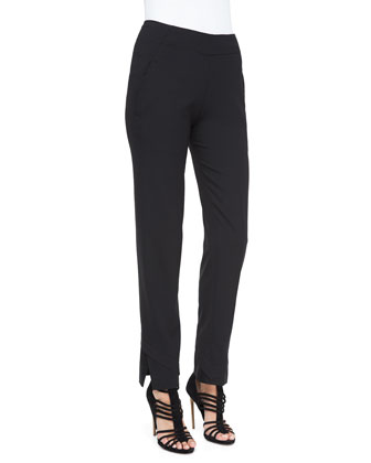 Slim Pants with Satin Hem, Charcoal