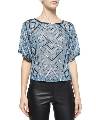 Beaded Short-Sleeve Top, Frost