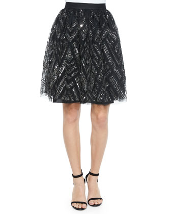 Switch Geometric Beaded Skirt, Black/Silver