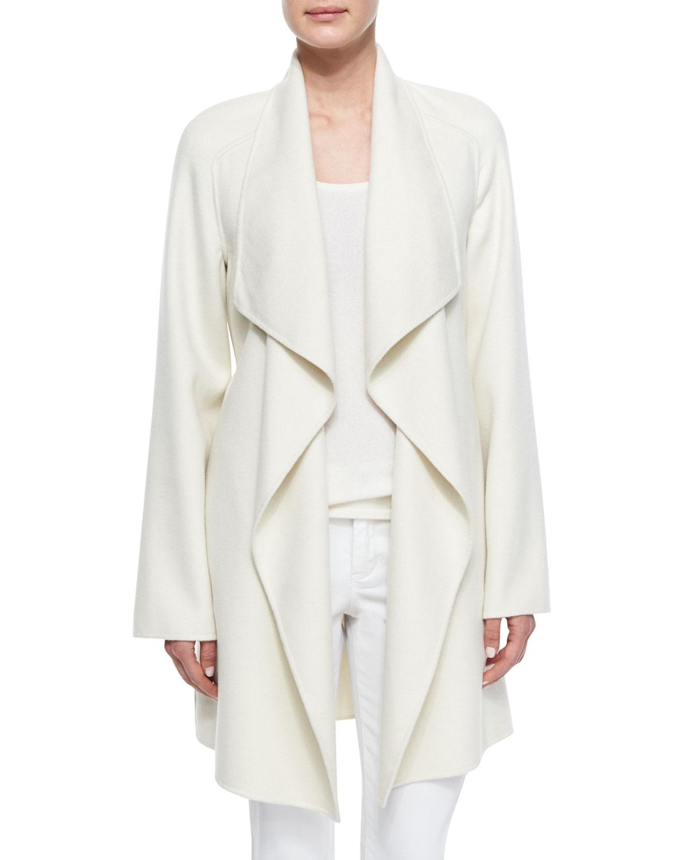 Cashmere Double-Face Wrap Coat, Size: X-SMALL, White - Neiman Marcus Cashmere Collection