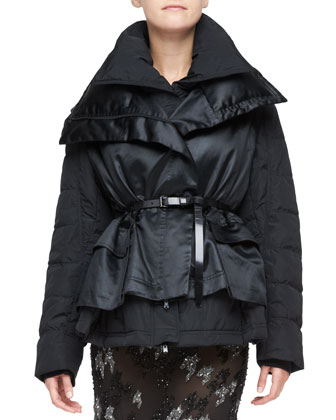 Double-Layer Puffer Jacket, Black