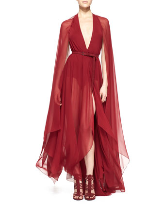 Belted Paneled Chiffon Evening Gown, Ruby Red