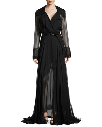 Long-Sleeve Trench Wrap Dress, Black