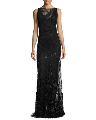 Sleeveless Embellished Evening Gown, Black