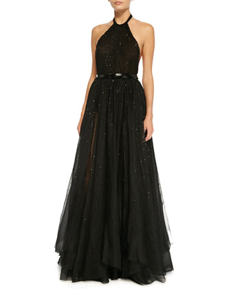Sequined Halter Ball Gown