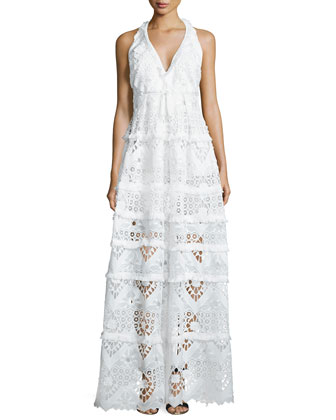 Nubia Crochet Halter Maxi Dress, White