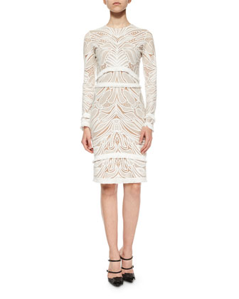 Chester Lace Long-Sleeve Sheath Dress, White
