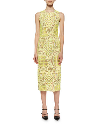 Aurora Sleeveless Lace Midi Dress, Yellow