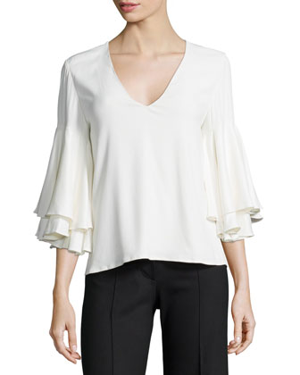 Tiered-Sleeve Knit Top, White