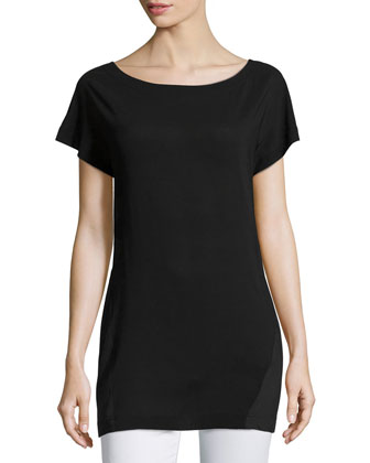 Short-Sleeve Combo Blouse, Black