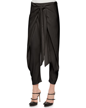 Sleeveless Bi-Color Top & Nikos Cropped Tie-Waist Harem Pants