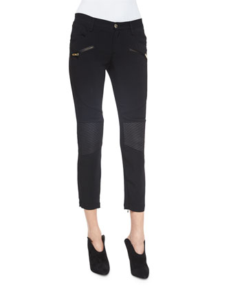 Knee-Patch Skinny-Fit Pants, Black