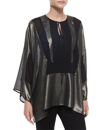 Metallic Tie-Neck Bib Tunic