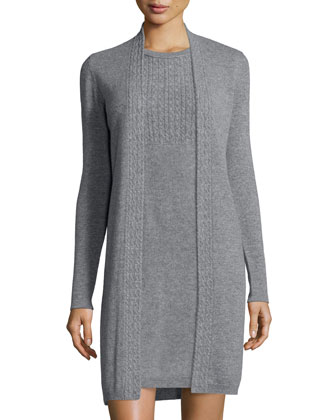 Long-Sleeve Cable-Knit Trim Cashmere Duster