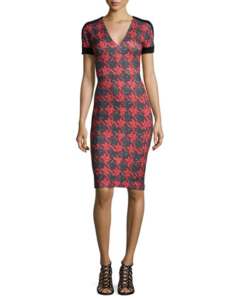 V-Neck Houndstooth Sheath Dress