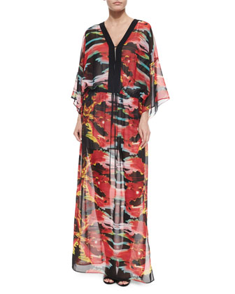3/4-Sleeve Flame-Print Maxi Dress