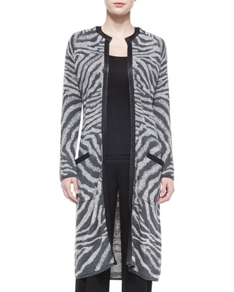 Animal-Print Sweater Coat, Gray/Black
