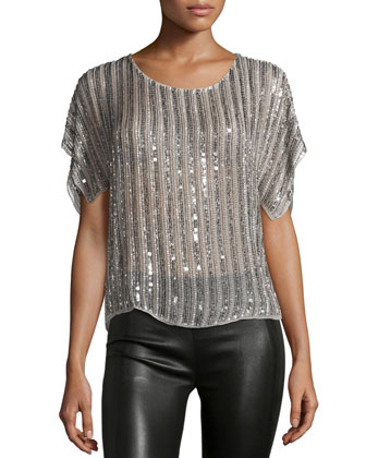 Everest Sequin-Striped Blouse, Pebble
