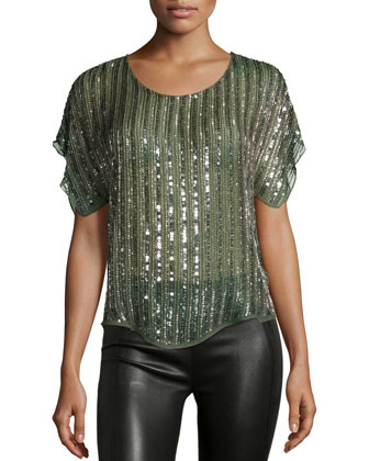 Everest Sequin-Striped Blouse, Spruce