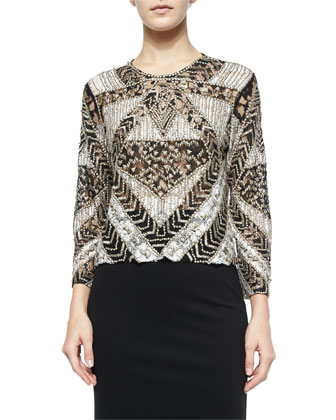 Mixed-Lace Highland Beaded Top, Black/White