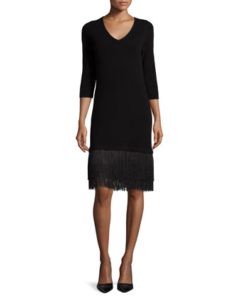 Cashmere 3/4-Sleeve Dress W/ Fringe Hem
