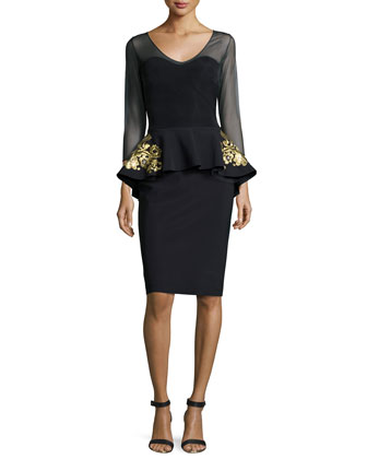 3/4-Sleeve Embroidered Peplum Dress, Black