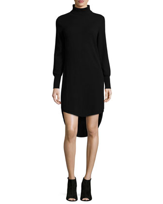 Turtleneck High-Low Cashmere Dress