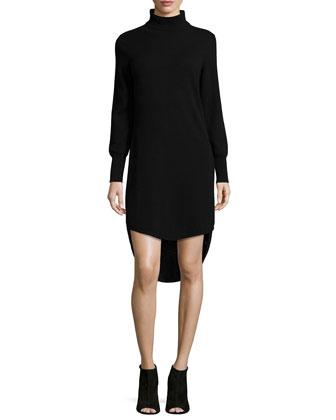 Turtleneck High-Low Cashmere Dress