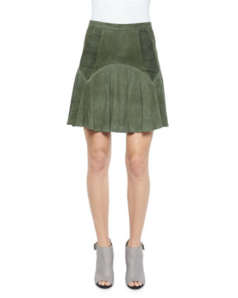 Boris Perforated-Leather Skirt, Spruce